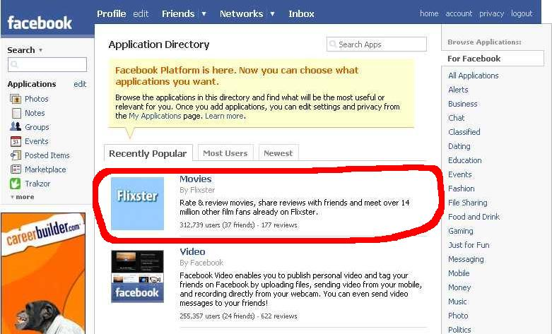 "Flixster currently #1 ""recently popular"" app on Facebook"